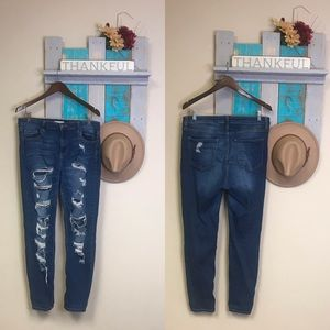 Distressed Ripped High Waisted Denim Jeans
